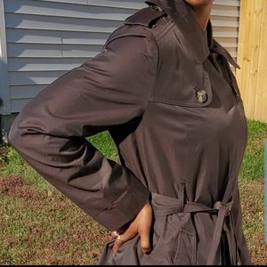 💥London Fog sage brown zip front belted trenchcoat